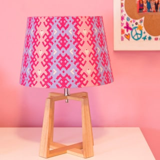 River of Goods Ikat Fabric Shade with Rubberwood Base 19-inch H Table Lamp