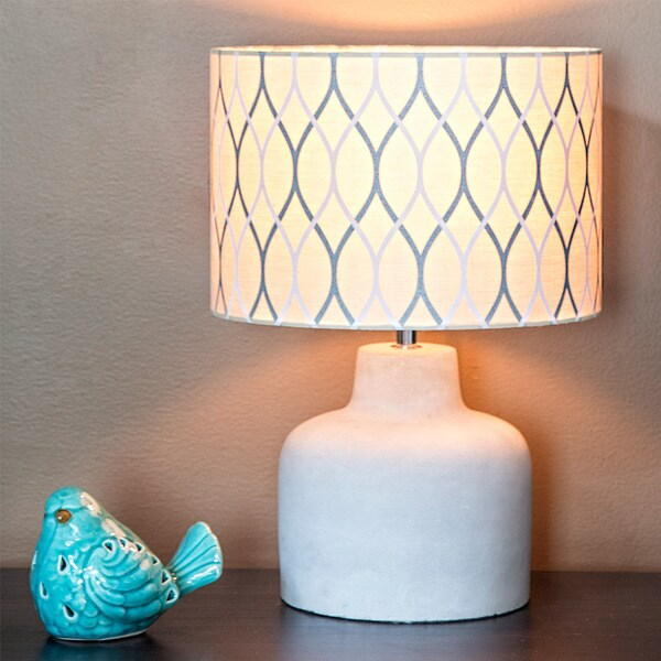 River of Goods Modern Yellow Fabric Grey Concrete Base Table Lamp