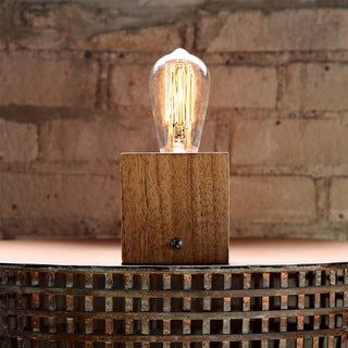 Brown Wood Filament Bulb Accent Lamp