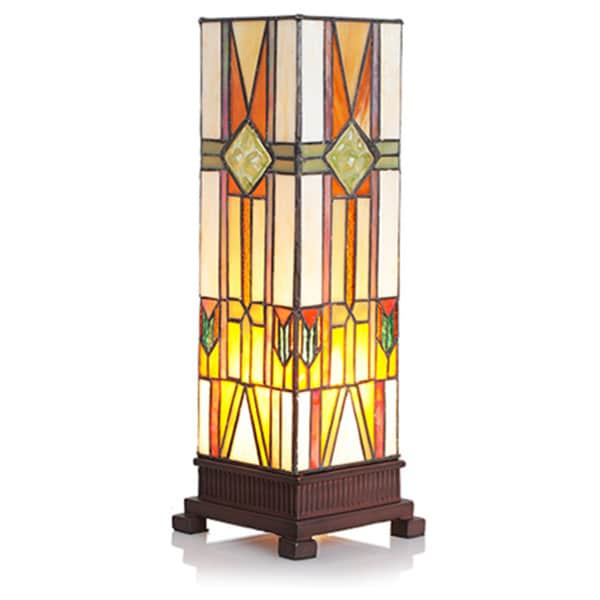 Stained Glass 14-inch Mission Style Hurricane Accent Lamp