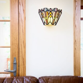 Copper Grove Carnach Art Glass Cordless Remote-control LED Wall Sconce