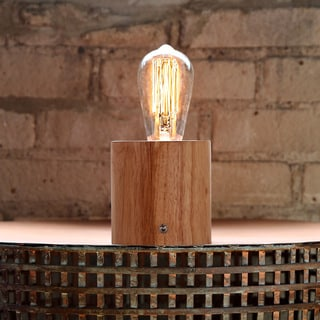 8.75-inch High Filament Bulb Solid Wood Natural Modern Cylinder-base Accent Lamp