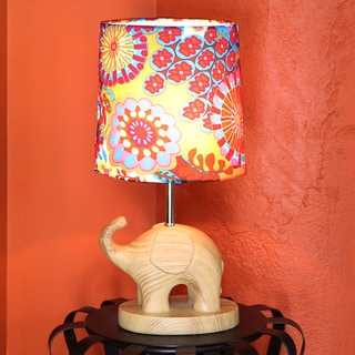 River of Goods Electric Elephant Wood Grain 16.5-inch Accent Table Lamp With Multicolored Fabric Shade