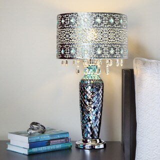 """Metal Mosaic Hanging Glass Crystals Silver 24.25-inch High Table Lamp - 13""""L x 13""""W x 24.25""""H"""