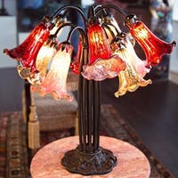 River of Goods Bronze Metal/Art Glass Downlight Lily Table Lamp