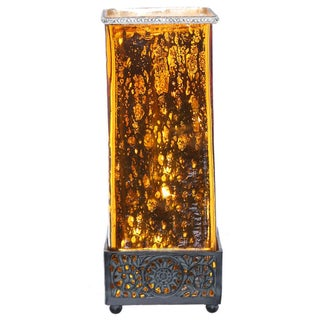 River of Goods Studio Art Mercury Glass and Metal Jeweled Uplight 14.75-inch High Square Table Lamp (4 options available)