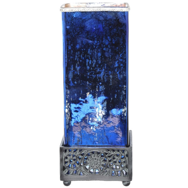 River of Goods Studio Art Mercury Glass and Metal Jeweled Uplight 14.75-inch High Square Table Lamp