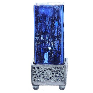 River of Goods Studio Art Blue Mercury Glass and Metal 8.8-inch High Square Uplight Accent Lamp