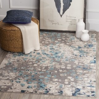 Safavieh Monaco Abstract Watercolor Grey / Light Blue Distressed Rug - 3' x 5'