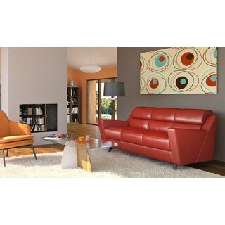 Lucia Collection Red Leather Full Sofa