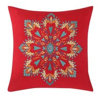 Fiesta Brand Bedding Medallion Read and Orange Cotton and Polyester 18-inch Square Decorative Pillow