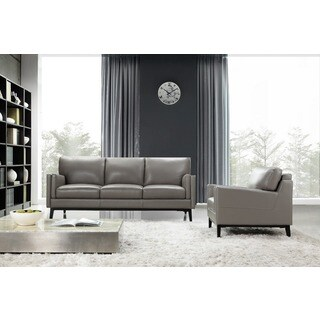 Osman Grey Wood/Leather Sofa