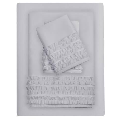 The Gray Barn Minnie Ruffled Microfiber Sheet Set 4-Color Option