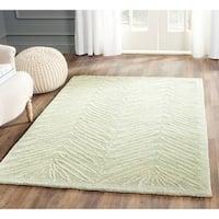Martha Stewart by Safavieh Chevron Leaves Milk Pail Green Wool/ Viscose Rug - 4' x 6'