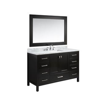 Design Element London White/Espresso Carrara Marble/Oak 54-inch Single Sink Vanity Set