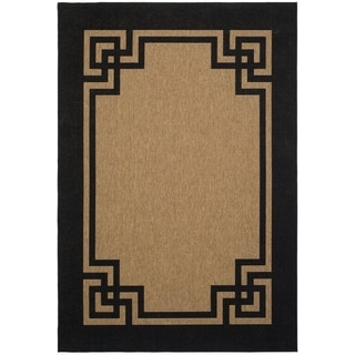 Martha Stewart by Safavieh Deco Frame Dark Beige/ Black Rug (4' x 6')
