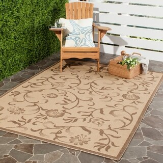 Martha Stewart by Safavieh Swirling Garden Cream/ Red Indoor/ Outdoor Rug (4' x 6')