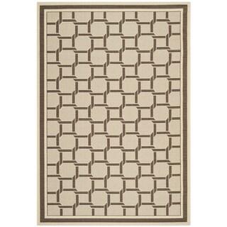 Martha Stewart by Safavieh Resort Weave Cream/ Chocolate Indoor/ Outdoor Rug - 4' x 6'
