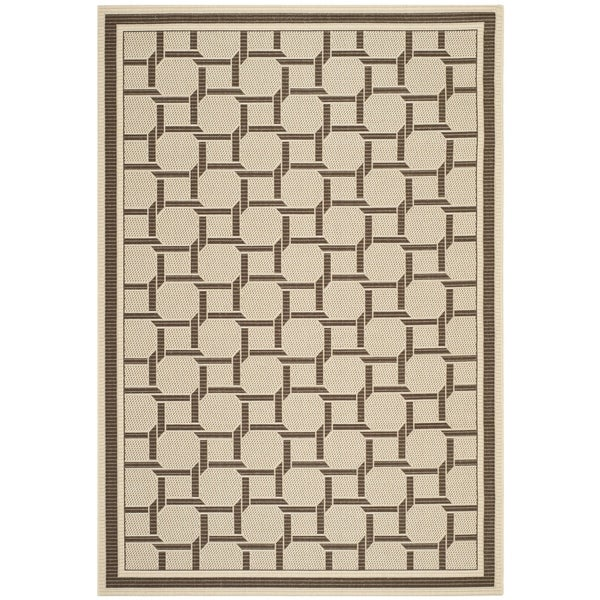 Martha Stewart by Safavieh Resort Weave Cream/ Chocolate Indoor/ Outdoor Rug (4' x 6')