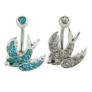 Supreme Jewelry Swallow Bird Aqua/Silver Surgical Steel 6-millimeter Wide x 22-millimeter Long Belly Rings (2 Pack)