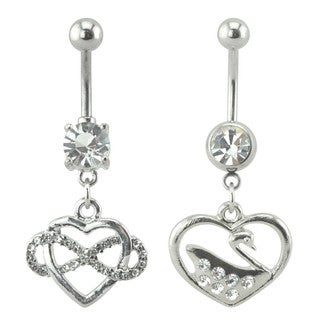 Supreme Jewelry Silver Heart Belly Rings Set of 2 Different Styles with Gem Stones