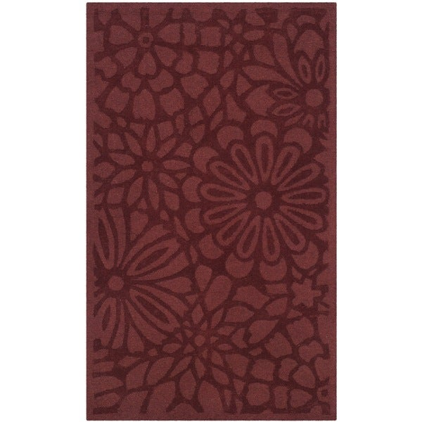 Martha Stewart by Safavieh Full Bloom Vermillion Wool Rug - 3' x 5'