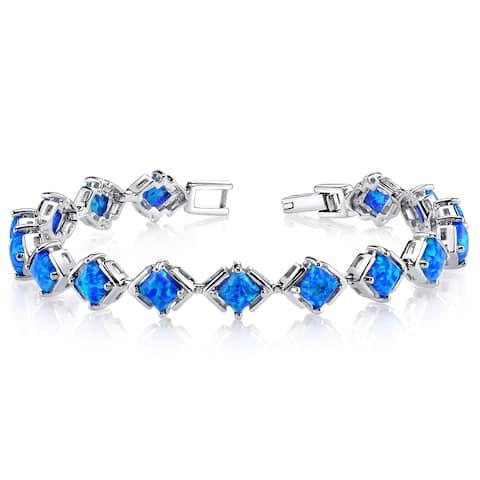 Oravo 5.5ct Created Blue Opal Sterling Silver Tennis Bracelet