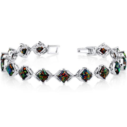 Oravo Sterling Silver 5.5ct Created Back Opal Tennis Bracelet