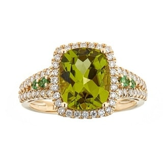 14K Yellow Gold Peridot, Tsavorite and Diamond Ring by Anika and August