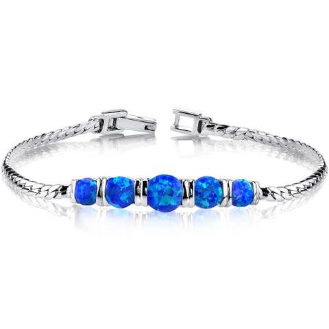Oravo Women's Sterling Silver 2.75ct Created Blue Opal 5-stone Bracelet
