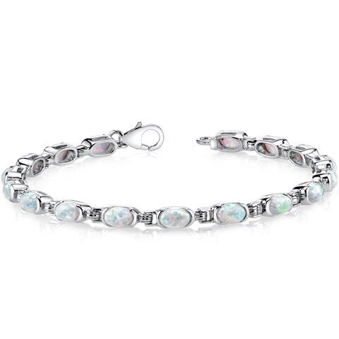 Oravo Sterling Silver 4.75ct Created Opal Tennis Bracelet