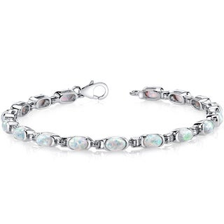 Oravo Sterling Silver 4.75ct Created Opal Tennis Bracelet