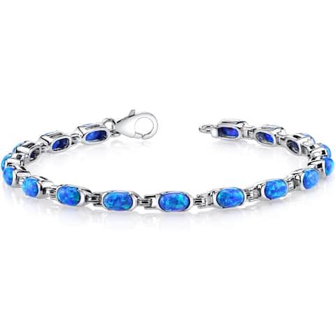 Oravo 4.75ct Created Blue Opal Sterling Silver Tennis Bracelet