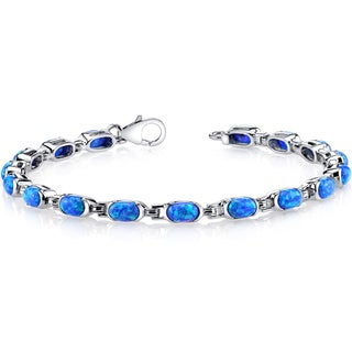 Oravo 4.75ct Created Blue Opal Sterling Silver Tennis Bracelet
