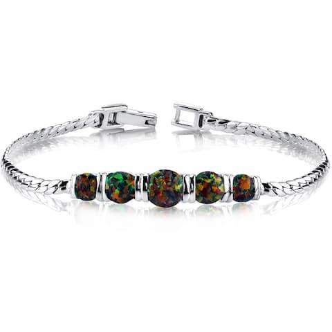 Oravo 2.75ct Created Black Opal 5 Stone Sterling-silver Bracelet