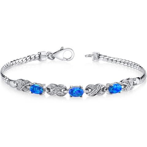 Oravo Blue Opal Sterling Silver Eternity Bracelet