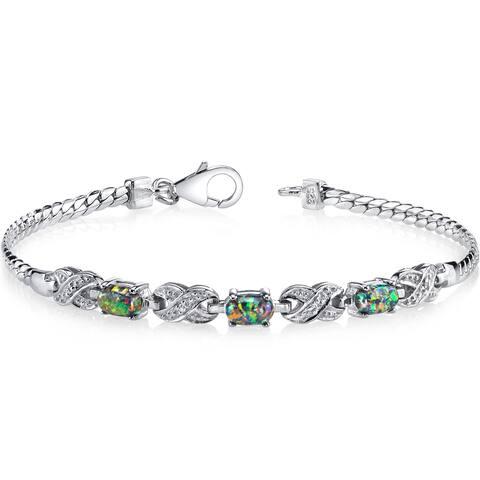 Oravo Black Opal and Sterling Silver Eternity Bracelet