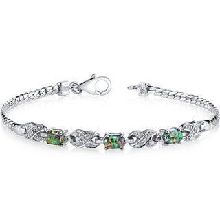 Oravo Black Opal and Sterling Silver Eternity Bracelet