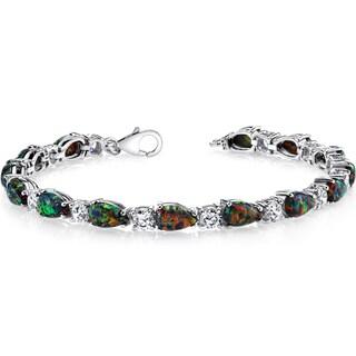 Oravo Sterling Silver Created Black Opal Tear Drop Tennis Bracelet