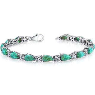 Oravo Sterling Silver Created Green Opal Tear Drop Tennis Bracelet