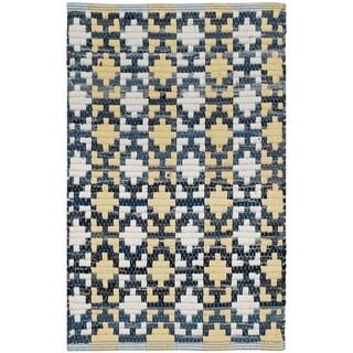 Safavieh Hand-Woven Montauk Flatweave Gold / Multicolored Cotton Rug (3' x 5')