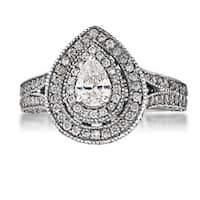 14k White Gold 2 1/2ct TDW Diamond Double Halo Engagement Ring - Silver