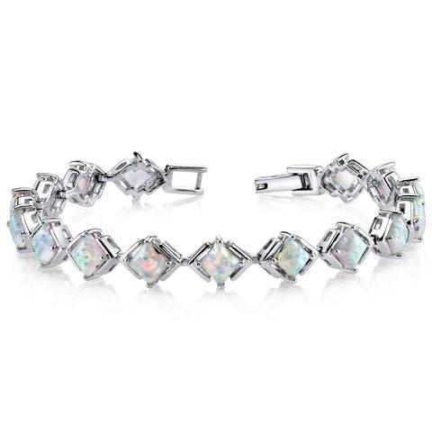 Oravo 5.5ct Sterling Silver Created Opal Tennis Bracelet