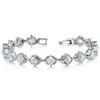 Oravo 5.5ct Sterling Silver Created Opal Tennis Bracelet