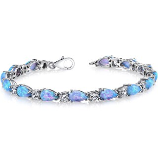 Oravo Sterling Silver 7ct Created Blue Opal Tear Drop Tennis Bracelet