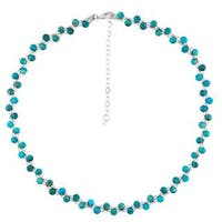 Sterling Silver Turquoise Woven Necklace - Blue