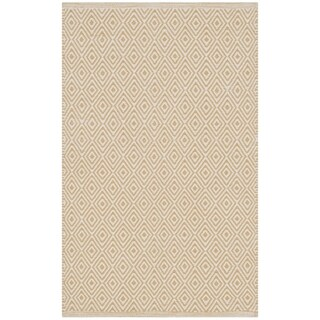 Safavieh Hand-Woven Montauk Flatweave Ivory / Gold Cotton Rug (3' x 5')
