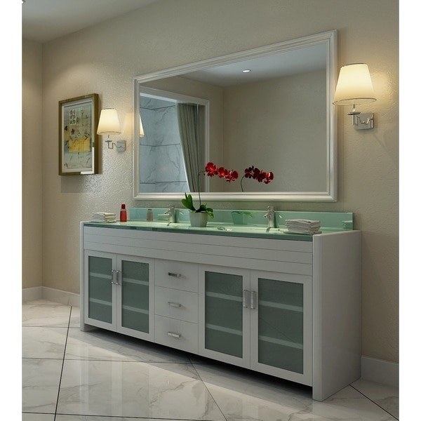 Shop Design Element Waterfall White 72 Inch Double Sink Vanity Set