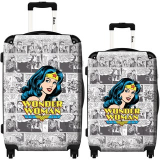 iKase Wonder Woman News 2-piece Fashion Hardside Spinner Luggage Set