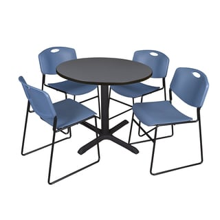 Round 42-inch Table and 4 Zeng Stackable Blue Chairs